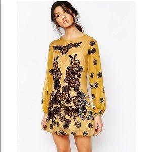 For Love & Lemons Sierra Mini Dress in Mustard